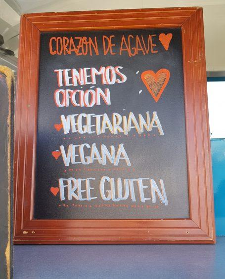 Corazón de Agave, con opciones veganas y vegetarianas