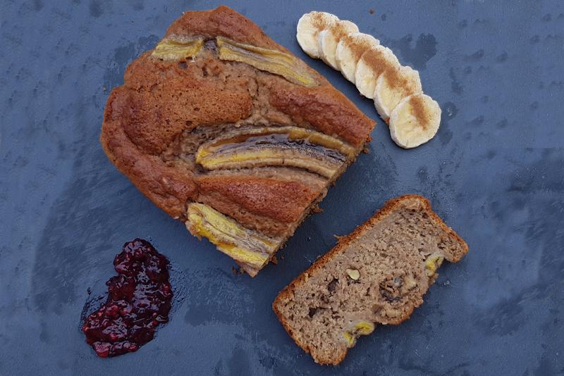 Imagen desde arriba pan de plátano