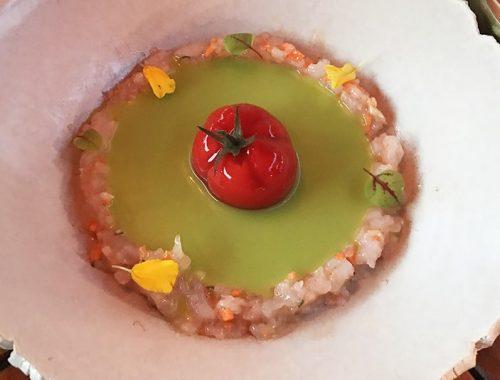 Dani Brasserie: Tomate nitro y gazpacho verde